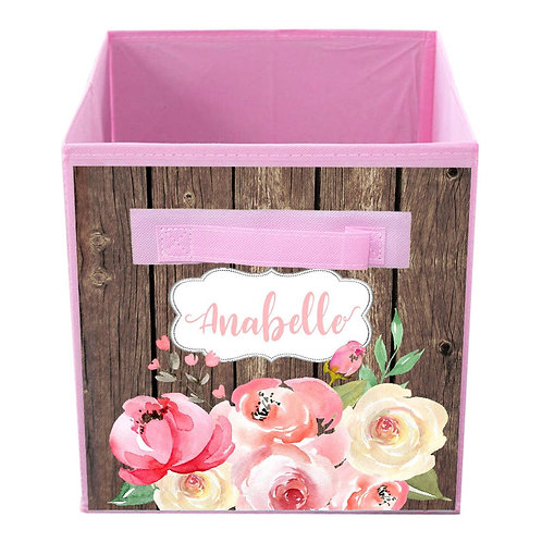 Brown Rustic Shabby Floral FABRIC BIN