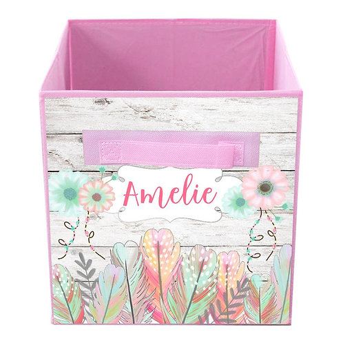 White Rustic Floral Feather FABRIC BIN