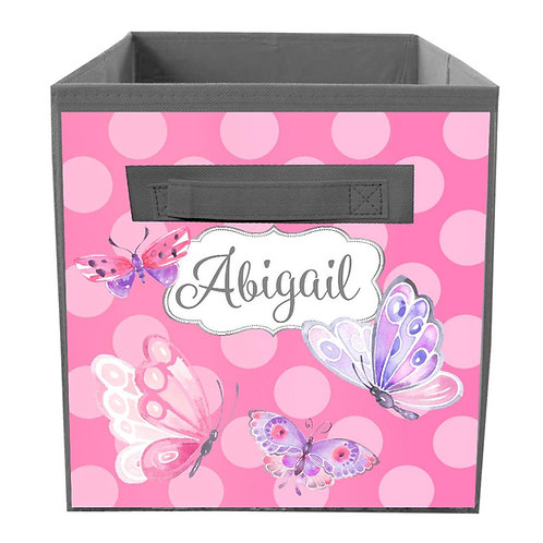 Pink and Purple Butterfly FABRIC BIN