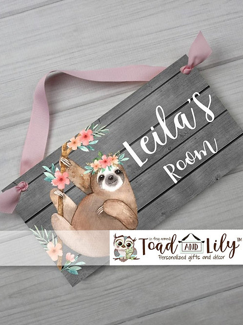 Floral Sloth Rustic DOOR SIGN