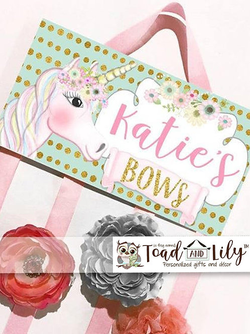 Pink and Gold Unicorn HAIR BOW HOLDER