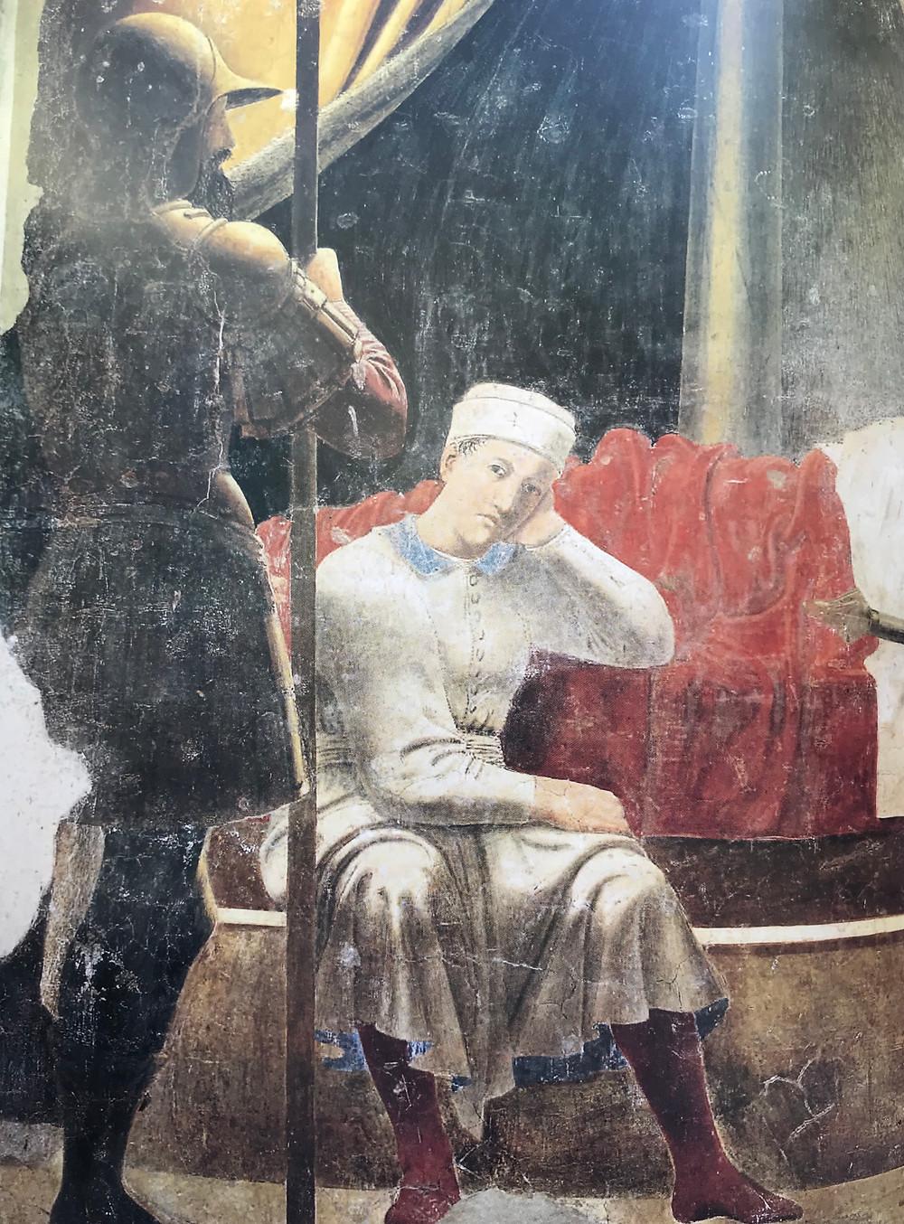 """Dettaglio - Piero della Francesca """"Il sogno di Costantino"""" Leggenda della Vera Croce, 1452-1459 Affresco cm. 329x190 Arezzo, San Francesco"""