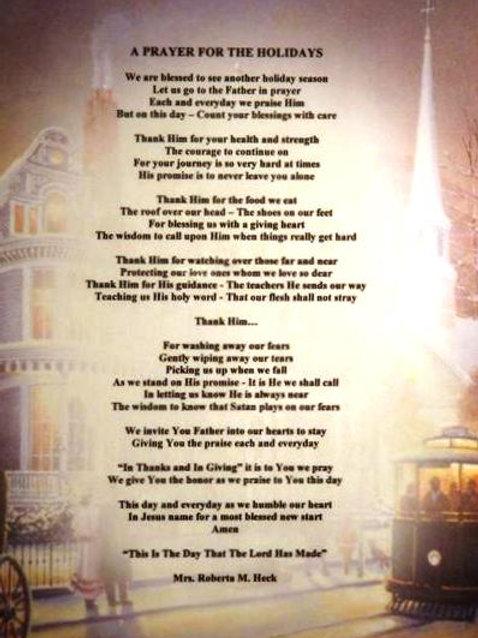 A Prayer for the Holidays Plaque