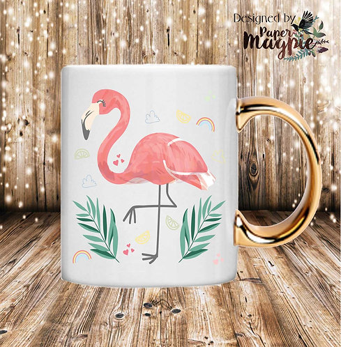 Flamingo 11oz Gold Handle Mug