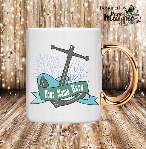 Anchor 11oz Gold Handle Mug
