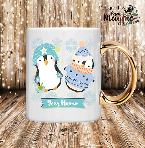Christmas Penguins Personalised 11oz Gold Handle Mug