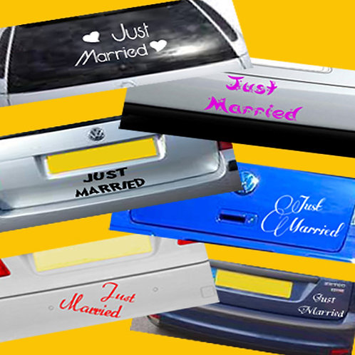 Just Married Vinyl Decal - 6 Designs, 3 Sizes, 8 Colours to choose from!