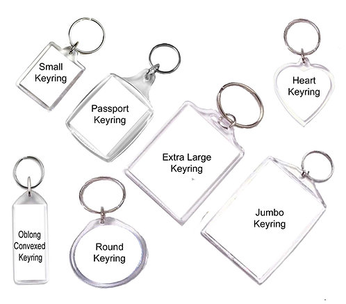 Acrylic Keyrings - 7 types - Personalised