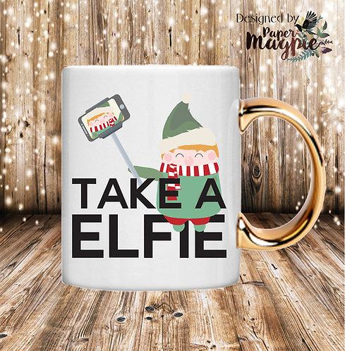Take a Elfie 11oz Gold Handle Mug