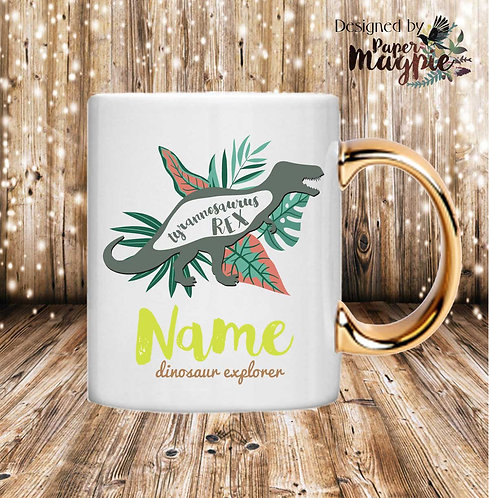 Dinosaur Explorer Personalised 11oz Gold Handle Mug