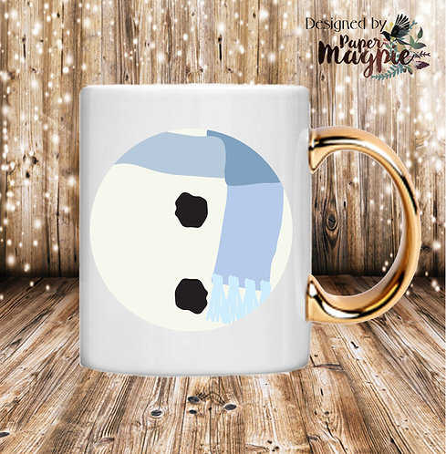 Snowman 11oz Gold Handle Mug