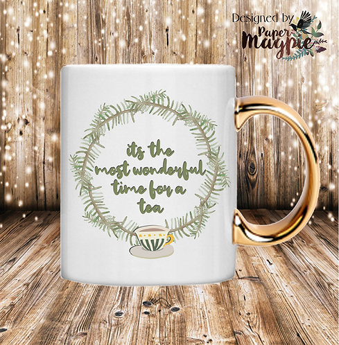 It's the Most Wonderful Time for a Tea 11oz Gold Handle Mug