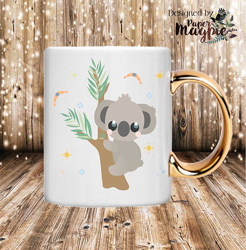 Koala 11oz Gold Handle Mug