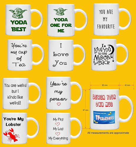 Valentines Love Themed Mugs - 10 Designs to Choose from Standard Size + Gift Box