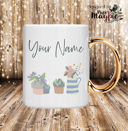 Flowers & Plants Personalised 11oz Gold Handle Mug