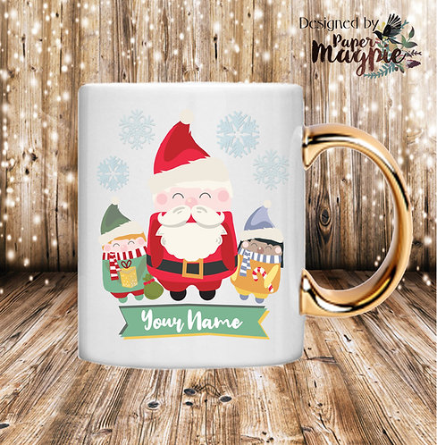 Christmas Santa Personalised 11oz Gold Handle Mug