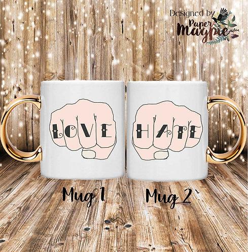 Love & Hate 11oz Gold Handle Couples Mug Set