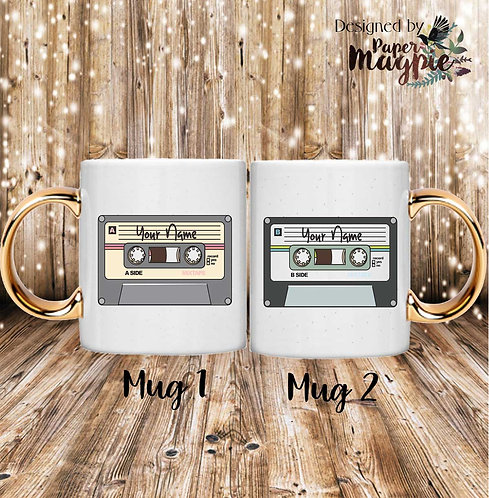 Personalised Cassette Tapes 11oz Gold Hand le Couples Mug Set