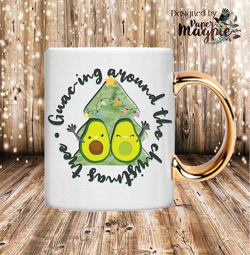 Guacing around the Christmas Tree 11oz Gold Handle Mug