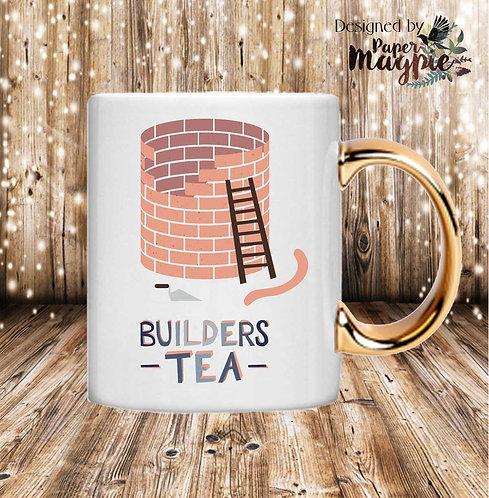 Builders Tea 11oz Gold Handle Mug