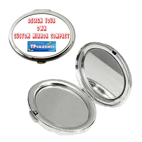Silver Metal Mirror Compact - Personalised