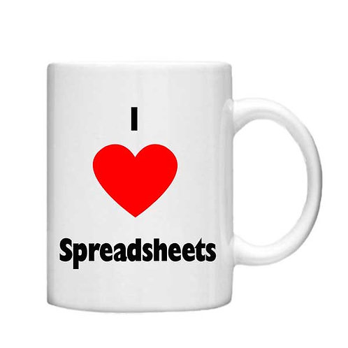 I Love Spreadsheets11oz mug - Choice off different handles an colour