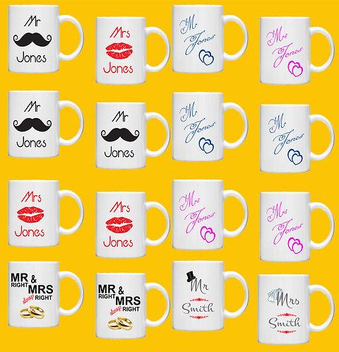 Custom Wedding/Engagement Gift Mug Sets - Personalised with your Details!!
