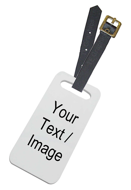 Hard Plastic Luggage Tag with Leather Strap Personalised