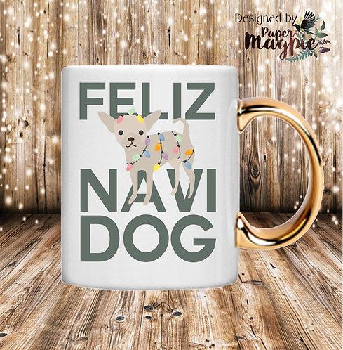 Feliz Navi Dog 11oz Gold Handle Mug
