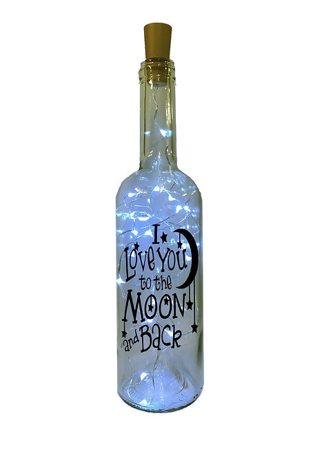 Personalised Love you to the Moon and Back LED Light up Bottle Birthday Wedding
