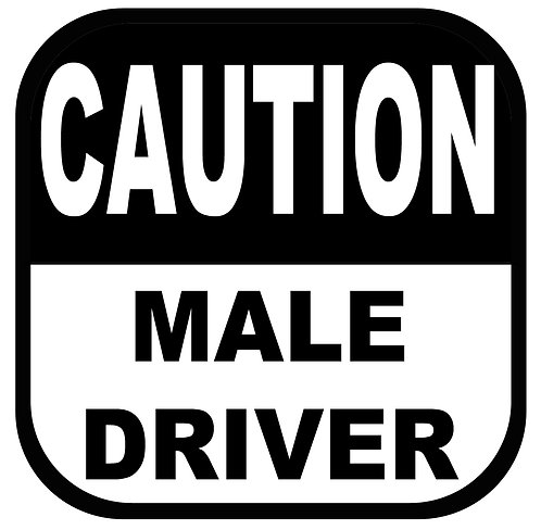 Caution Male Driver Vinyl Sticker