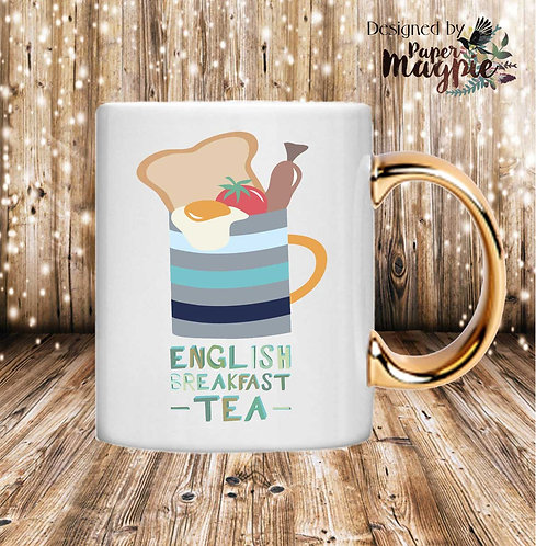 English Breakfast Tea 11oz Gold Handle Mug