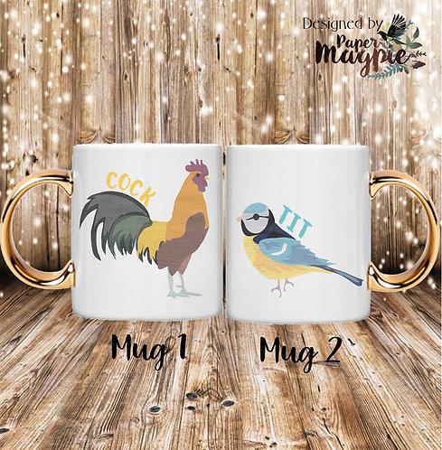 Cock & Tit 11oz Gold Handle Couples Mug Set