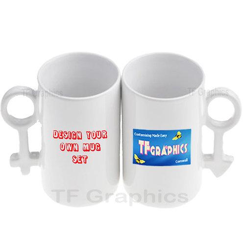 Boy & Girl Couples Mug Set - 2 Mugs Personalised