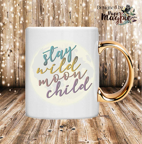 Stay Wild Moon Child 11oz Gold Handle Mug