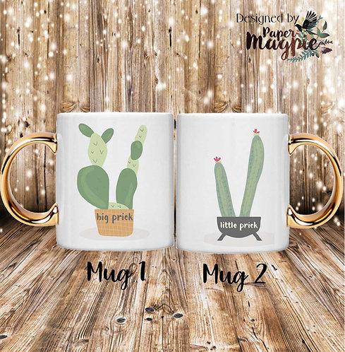 Big Prick Little Prick 11oz Gold Handle Couples Mug Set Mug Set