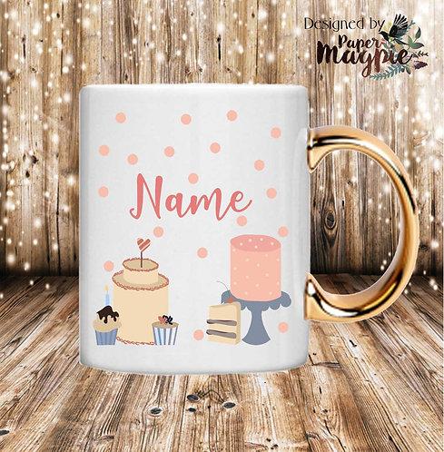 Cakes Personalised 11oz Gold Handle Mug