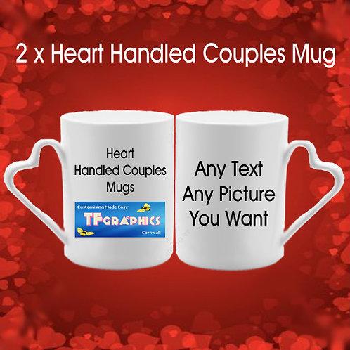 2 x Personalised Bone China Heart Handled Couples Mugs Valentines Day Gift Set