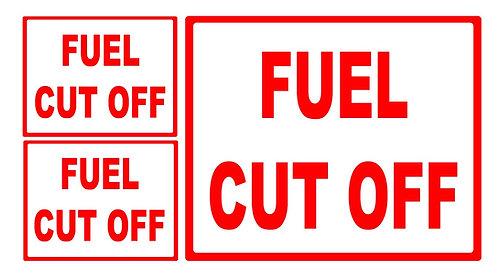 3 x Fuel Cut Off Vinyl Sticker - 2 x Small, 1 x Large