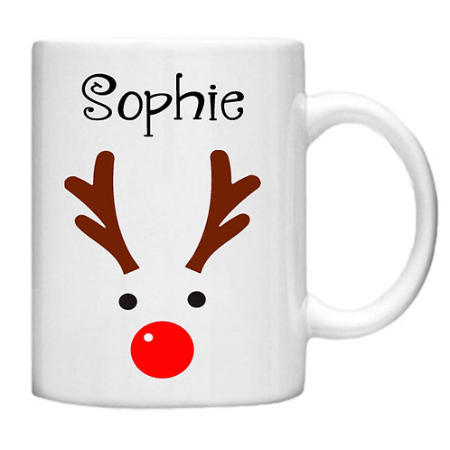 Christmas Reindeer Mug - Customised with your name!