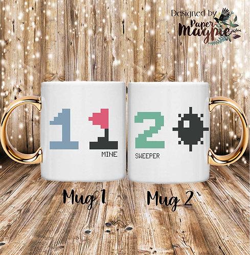 Minesweeper 11oz Gold Handle Couples Mug Set