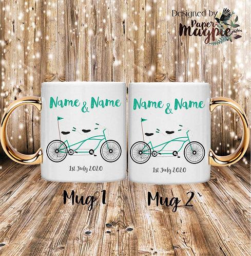 Tandem Bike Custom 11oz Gold Handle Couples Mug Set