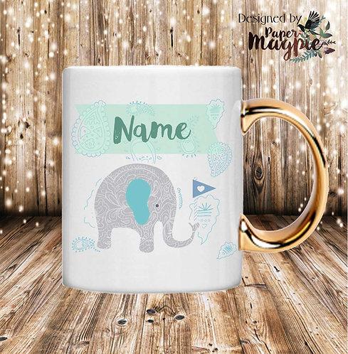 Cute Elephant Personalised 11oz Gold Handle Mug