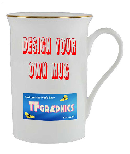 10oz Gold Rim Bone China Mug - Personalised to your Design