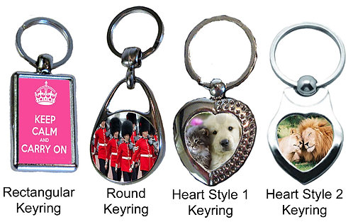 Chrome Plated Keyring - 4 types avaliable - Personalised