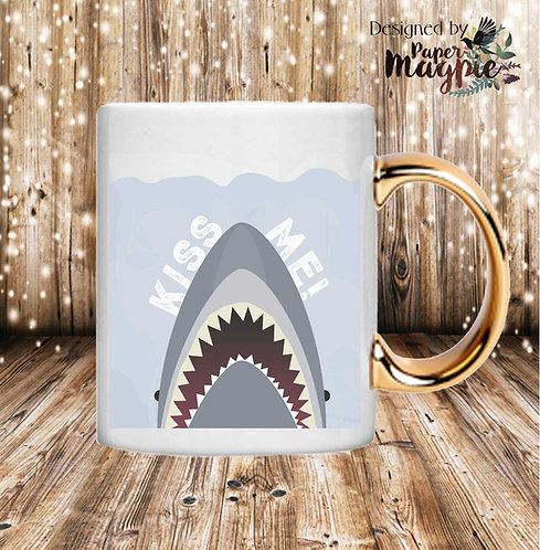 Kiss Me Shark 11oz Gold Handle Mug
