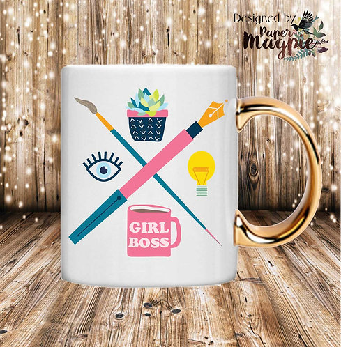 Girl Boss 11oz Gold Handle Mug
