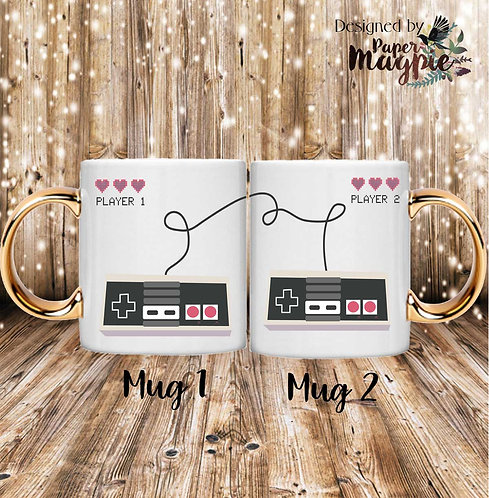 Player 1 Player 2 Games Console 11oz Gold Handle Couples Mug Set