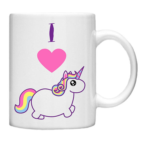 I Heart Unicorns -11oz mug - Choice off different handles a colour
