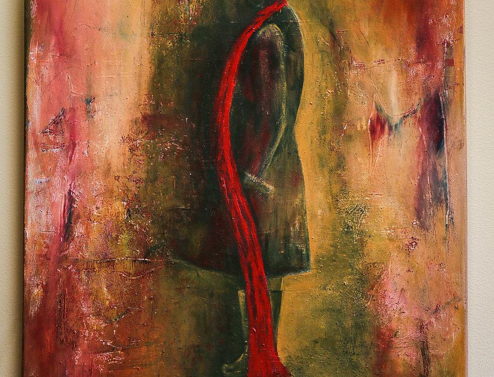 Moteris su raudonu šaliku